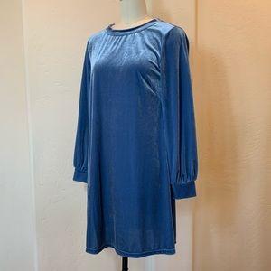 Anthropologie Crushed Velvet Dress in Blue